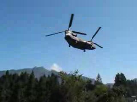 2009.08.27陸軍雙螺旋槳直昇機執行第二次吊掛電纜任務後返回後起飛